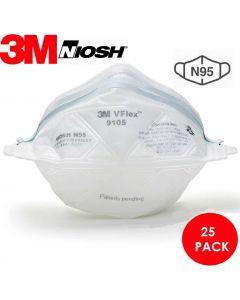 3M™ VFlex™ 9105 NIOSH Approved N95 Particulate Respirator Mask Pack of 25